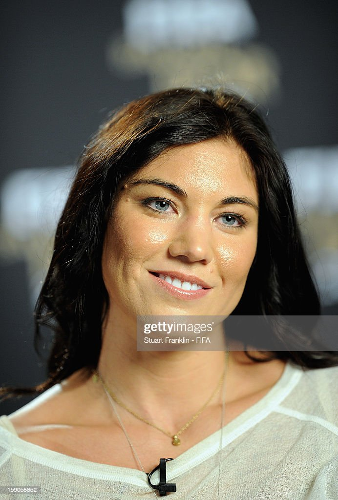 American soccer player and Olympic gold medalist Hope Solo is interviewed prior to the FIFA Ballon d'Or Gala 2012 at the Kongresshaus on January 7, 2013 in Zurich, Switzerland.