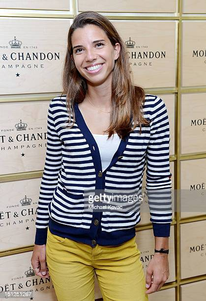 American soccer player and Olympic Gold medalist Tobin Heath visits the Moet Chandon Suite at the 2012 US Open at the USTA Billie Jean King National...