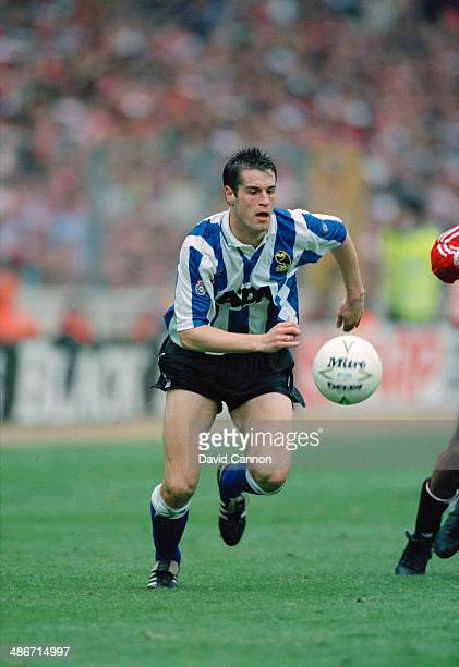 American soccer player John Harkes playing for Sheffield Wednesday in the Football League Cup final against Manchester United at Wembley Stadium...