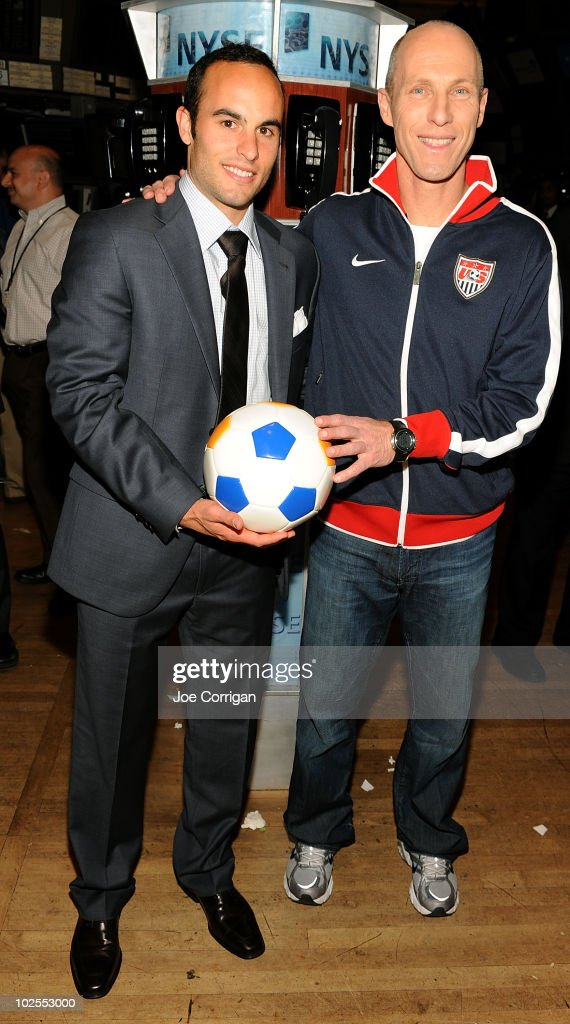 American soccer player <a gi-track='captionPersonalityLinkClicked' href=/galleries/search?phrase=Landon+Donovan&family=editorial&specificpeople=171601 ng-click='$event.stopPropagation()'>Landon Donovan</a> and United States men's national soccer team head coach <a gi-track='captionPersonalityLinkClicked' href=/galleries/search?phrase=Bob+Bradley&family=editorial&specificpeople=685515 ng-click='$event.stopPropagation()'>Bob Bradley</a> ring the closing bell at the New York Stock Exchange on June 30, 2010 in New York City.