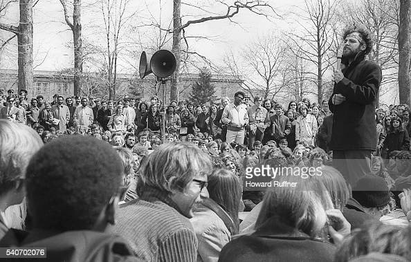 American social and political activist Jerry Rubin speaks during a rally at Kent State University Kent Ohio April 10 1970