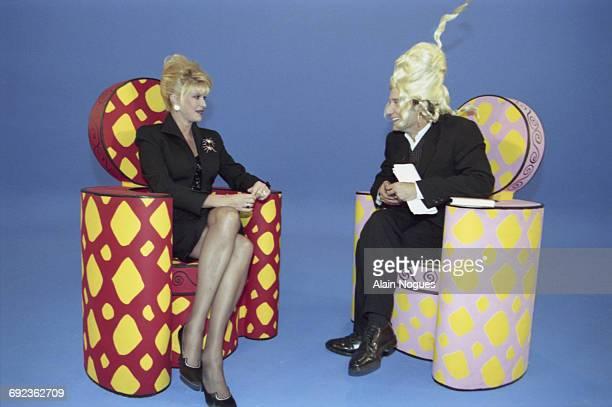 American socialite Ivana Trump is interviewed by Antoine De Caunes on the set of the TV programme 'Eurotrash' Paris France 3rd October 1996 Ivana is...