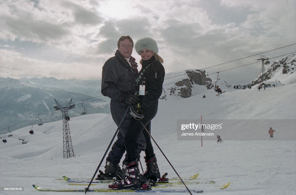 American socialite Ivana Trump with her husband Riccardo Mazzucchelli at Crans-Montana, Switzerland, 1997. Ivana is the ex-wife of American businessman Donald Trump.
