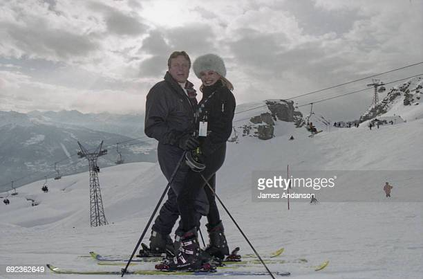 American socialite Ivana Trump with her husband Riccardo Mazzucchelli at CransMontana Switzerland 1997 Ivana is the exwife of American businessman...