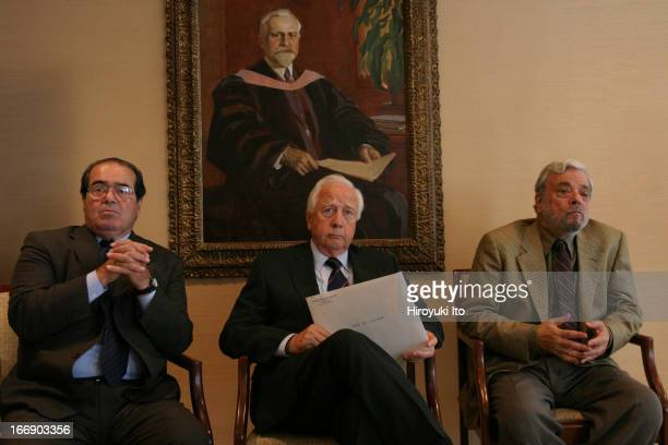 American Society for Arts event at the Juilliard School on Thursday September 22 2005From left Antonin Scalia David McCullough and Stephen Sondheim