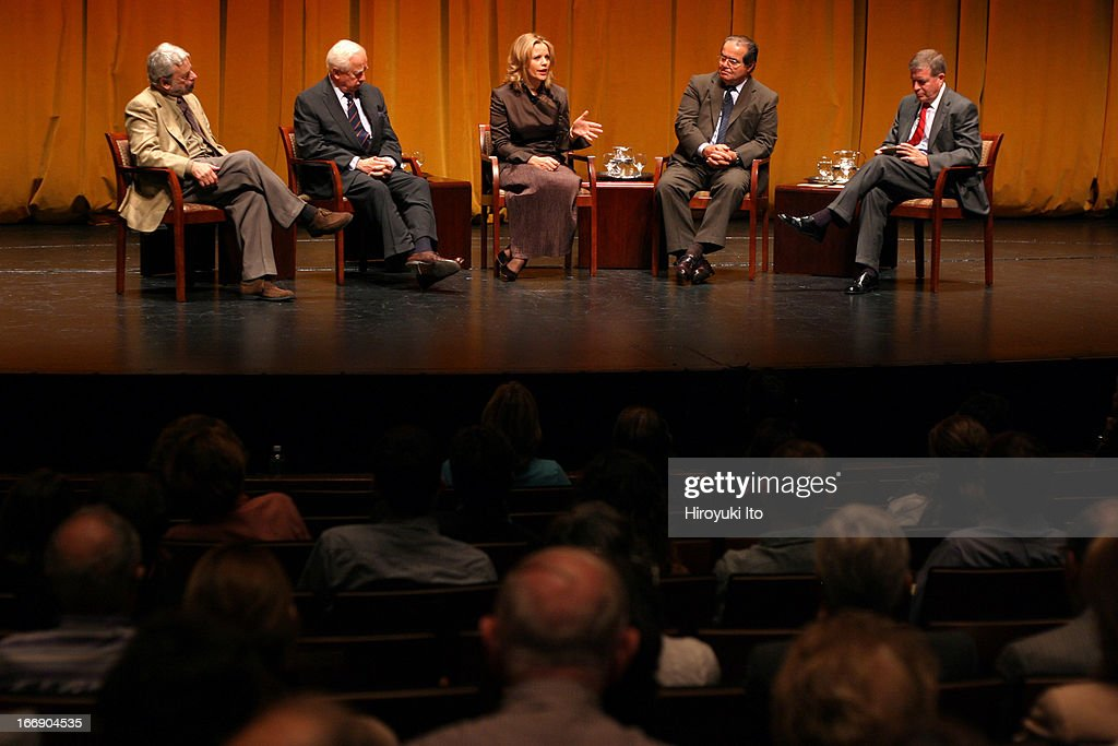 American Society for Arts event at the Juilliard School on Thursday September 22 2005From left Stephen Sondheim David McCullough Renee Fleming...