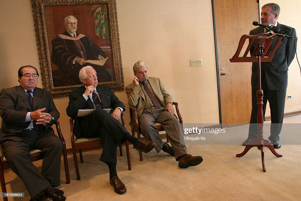 American Society for Arts event at the Juilliard School on Thursday September 22 2005From left Antonin Scalia David McCullough Stephen Sondheim and...