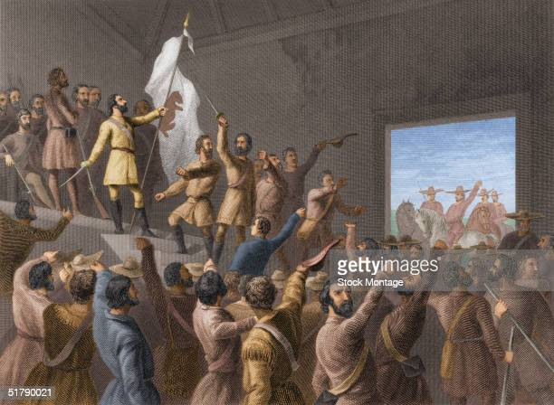 American soldier explorer and politician John C Fremont hoists the grizzlybear flag of the California Republic as California settlers declare...