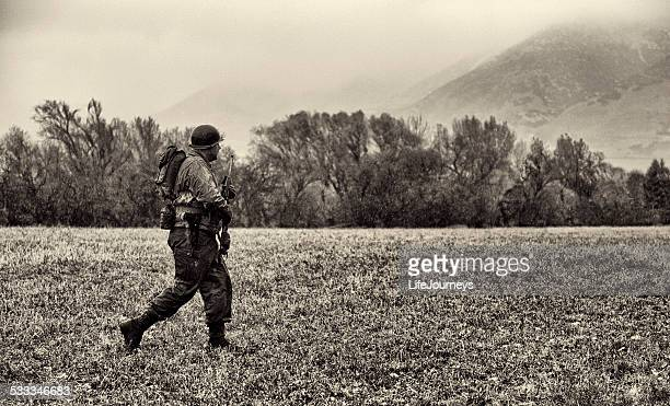 WWII American Soldier On Patrol In The German Countryside