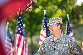 Happy American Soldier in front of American flags
