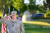 AMerican Soldier in front of American flags