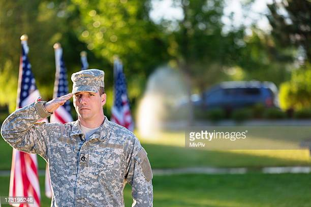 American Soldier saluting