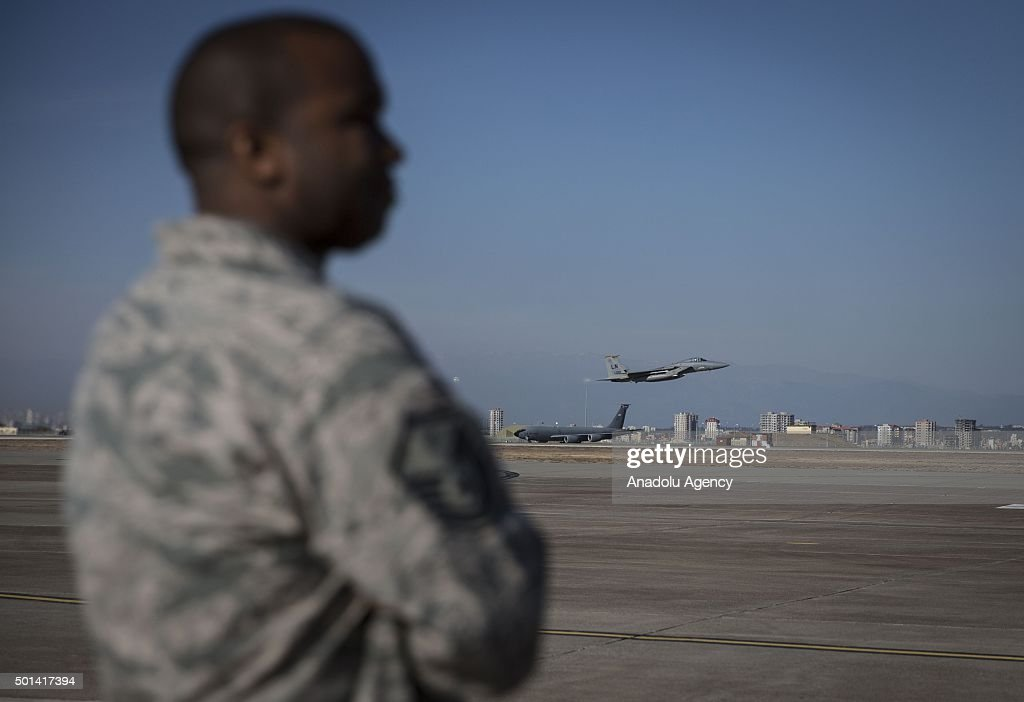 American soldiers and war crafts are seen at Incirlik Air Base in Adana Turkey during a presentation of war planes used in intervention against Daesh...