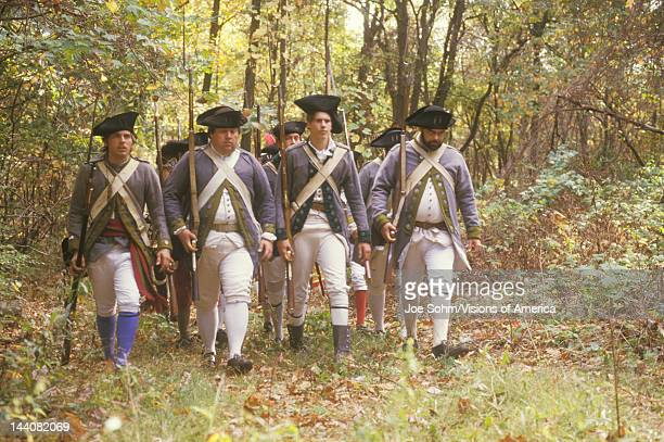American soldiers during Historical American Revolutionary War Reenactment Fall Encampment New Windsor NY