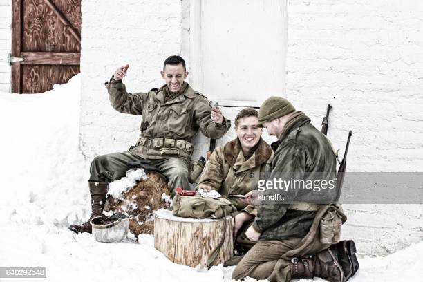 American Soldiers in WWII Enjoying Some Recreation In the Snow