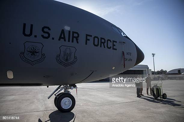 American soldiers stand in front of a war craft belonging to the United States Air Forces are seen at Incirlik Air Base in Adana Turkey prior to the...