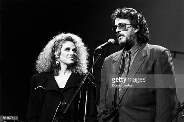 American songwriting partnership Gerry Goffin and Carole King on stage at a Songwriters' Academy event at the Wiltern Theatre Los Angeles California...