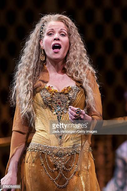 American soprano Renee Fleming performs the title role of the Metropolitan Opera/John Cox production of 'Thais' at the final dress rehearsal prior to...