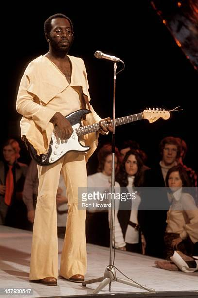 American soul musician Curtis Mayfield performs on BBC TV's Top Of The Pops in London circa 1971