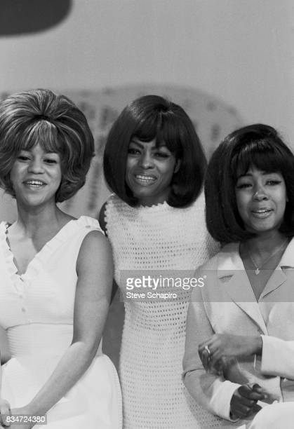 American Soul Pop and RnB group the Supremes perform on an episode of the television show 'Hullabaloo' New York New York May 1965 Pictured are from...