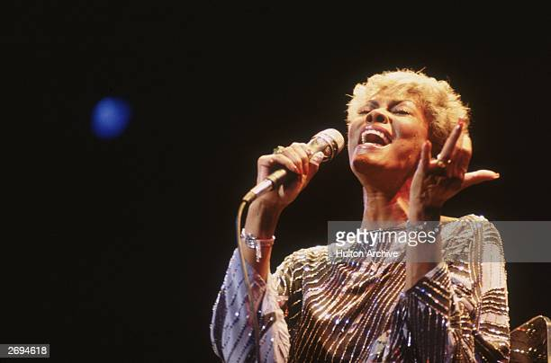 American soul singer Dionne Warwick in concert at the Apollo theatre in London