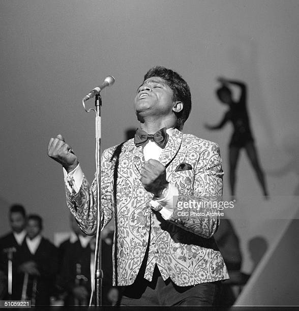 American soul singer James Brown sings on the Ed Sullivan Show New York October 30 1966