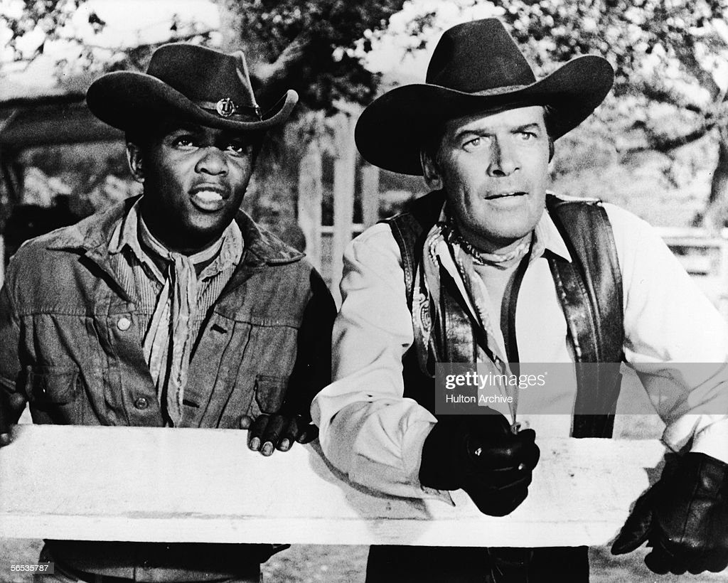 American soul singer Lou Rawls (1935 - 2006) guest stars as Joshua Watson along side actor Peter Breck in an episode of the TV Western 'The Big Valley,' 1969.