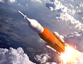 American Space Launch System Flying Over The Clouds. 3D Illustration. NASA Images Not Used.