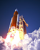 American Space Launch System Takes Off. 3D Illustration. NASA Images Not Used.
