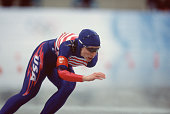 American speed skater Christine Witty competes in the women's 1000m at MWave during the 1998 Winter Olympic games