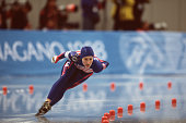 American speed skater Jennifer Rodriguez competes in the women's 1000m at MWave during the 1998 Winter Olympic games