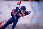 American speed skater Moira D'Andrea competes in the women's 1000m at MWave during the 1998 Winter Olympic games