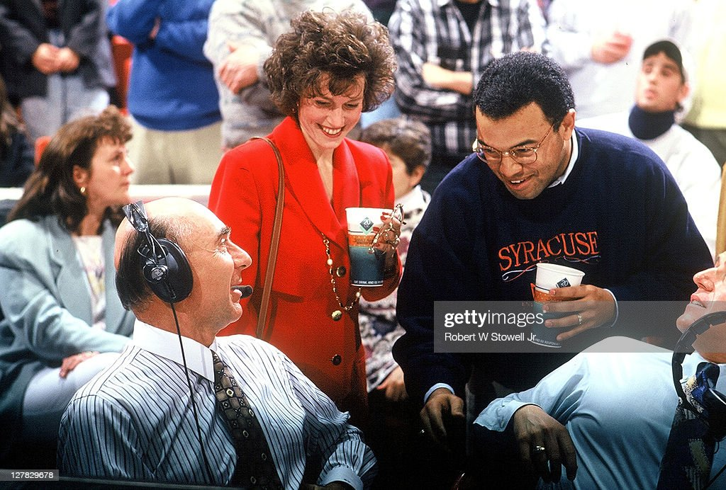 American sports journalist <a gi-track='captionPersonalityLinkClicked' href=/galleries/search?phrase=Dick+Vitale&family=editorial&specificpeople=730924 ng-click='$event.stopPropagation()'>Dick Vitale</a> (left, with headphones) talks with fellow ESPN commentator <a gi-track='captionPersonalityLinkClicked' href=/galleries/search?phrase=Mike+Tirico&family=editorial&specificpeople=577872 ng-click='$event.stopPropagation()'>Mike Tirico</a> before a basketball game, Hartford, Connecticut, 1992.