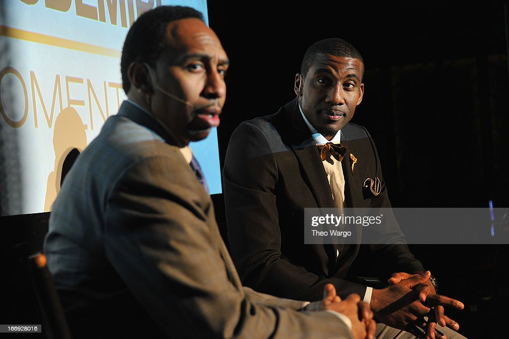 American sports journalist Stephen A Smith and <a gi-track='captionPersonalityLinkClicked' href=/galleries/search?phrase=Amar%27e+Stoudemire&family=editorial&specificpeople=201492 ng-click='$event.stopPropagation()'>Amar'e Stoudemire</a> speak after EPIX premiere of <a gi-track='captionPersonalityLinkClicked' href=/galleries/search?phrase=Amar%27e+Stoudemire&family=editorial&specificpeople=201492 ng-click='$event.stopPropagation()'>Amar'e Stoudemire</a> IN THE MOMENT on April 18, 2013 in New York City.