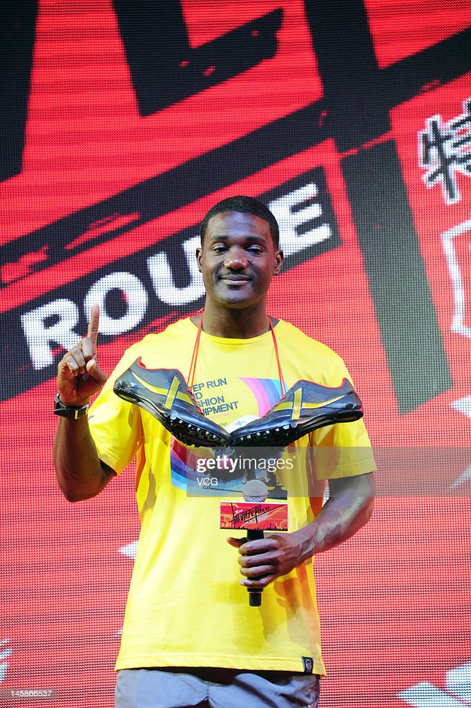 American sprinter <a gi-track='captionPersonalityLinkClicked' href=/galleries/search?phrase=Justin+Gatlin&family=editorial&specificpeople=162752 ng-click='$event.stopPropagation()'>Justin Gatlin</a> attends Xtep promotional event at 798 Art Zone on June 6, 2012 in Beijing, China.