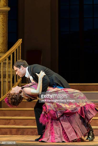 American stage actress Kelli O'Hara in her Met Opera debut and tenor Alek Sharder perform at the final dress rehearsal prior to the premiere of the...