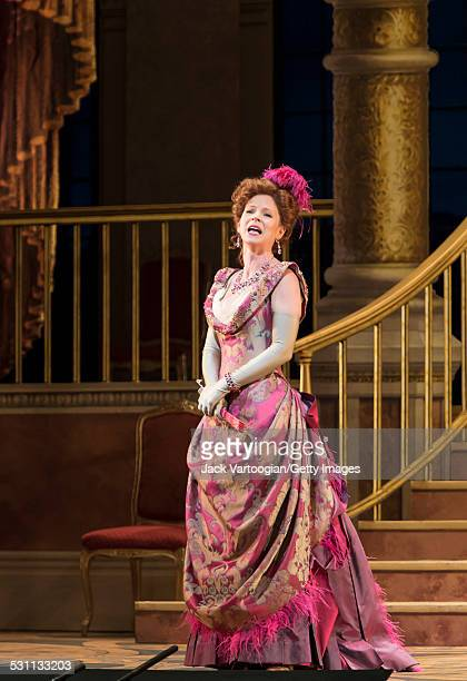 American stage actress Kelli O'Hara performs in her Met Opera debut at the final dress rehearsal prior to the premiere of the new Metropolitan...