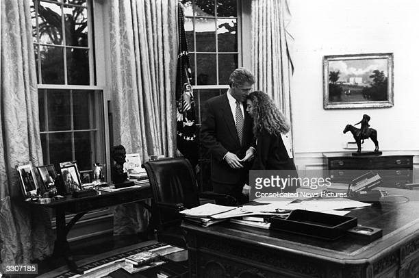 American statesman Bill Clinton 42nd President of the United States with his daughter Chelsea at the White House Washington DC