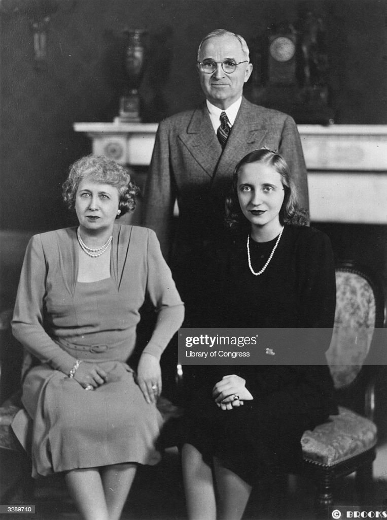American statesman Harry S. Truman, the 33rd President of the United States of America, with his wife Bess (1885-1982) and daughter Margaret, circa 1945.