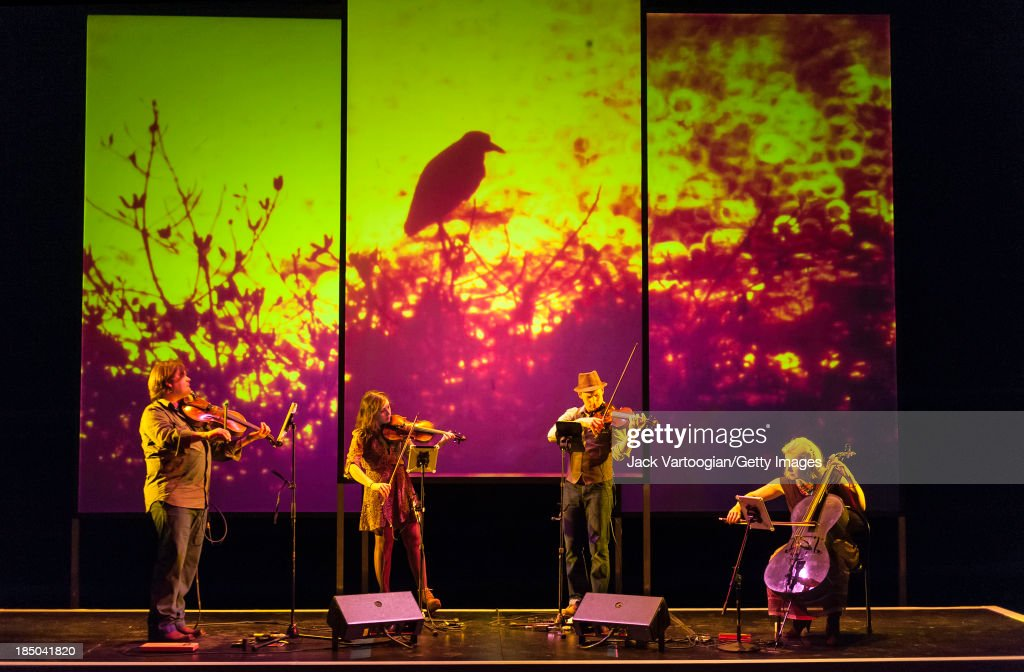 American string quartet Ethel perform their work 'Documerica' during the Brooklyn Academy of Music's 2013 Next Wave Festival at the BAM Harvey...