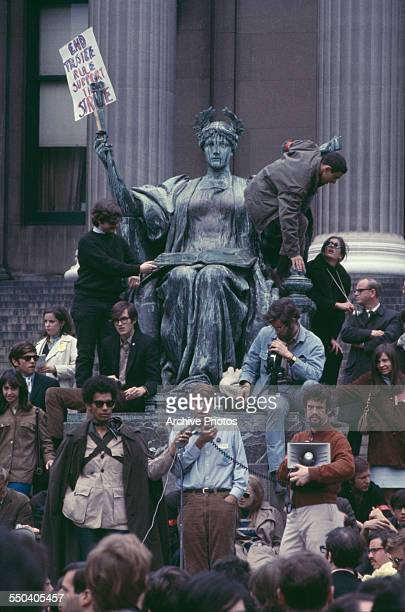 American student activist Mark Rudd president of the Columbia chapter of left wing activist group Students for a Democratic Society addresses...