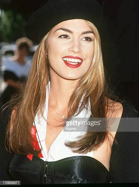 American supermodel Cindy Crawford at the 44th Annual Primetime Emmy Awards on August 30 1992 at Pasadena Civic Auditorium in Pasadena California