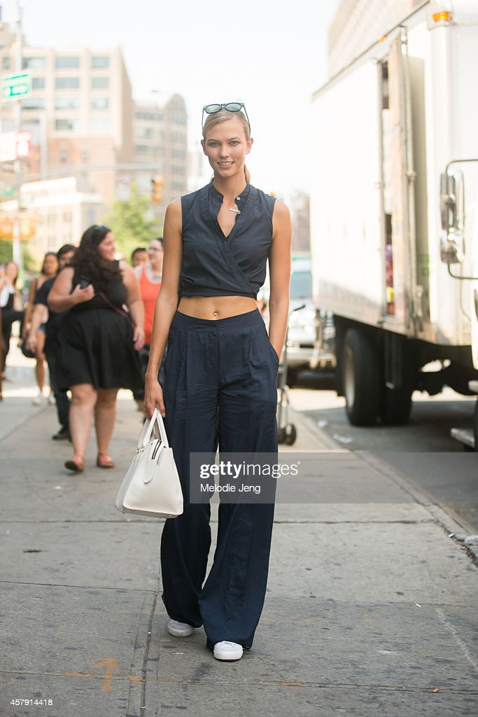 American supermodel Karlie Kloss exits the Jason Wu show at Spring Studios on Day 2 of New York Fashion Week Spring/Summer 2014 on September 5 2014...