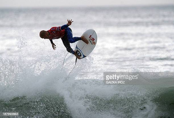 American surfer Kelly Slater competes during the Quicksilver Pro France 2013 surfing competition on October 3 2013 in Hossegor southwestern France...