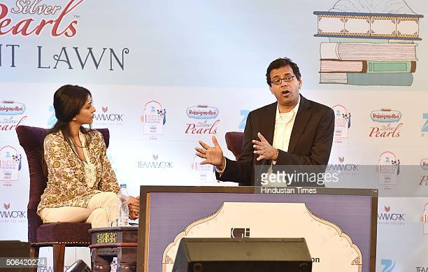American surgeon writer and public health researcher Atul Gawande and Biologist writer Aarathi Prasad during a discussion on 'Being Mortal' at Jaipur...