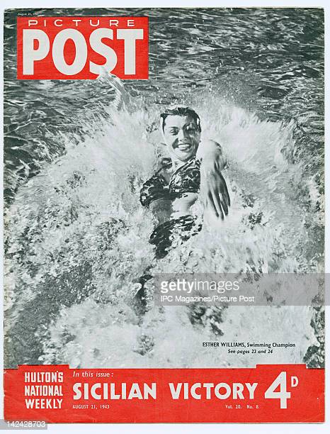 American swimmer and actress Esther Williams features on the the cover of Picture Post magazine August 1943 She is seen swimming at the Beverly...