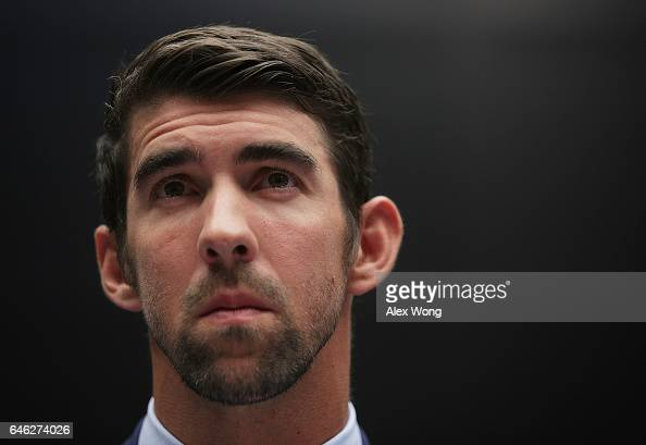 American swimmer and Olympic gold medalist Michael Phelps testifies during a hearing before the Oversight and Investigations Subcommittee of House...