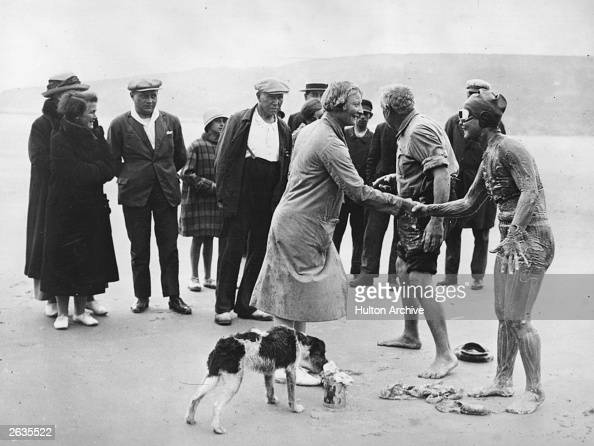American swimmer Gertrude Ederle right the first female to swim across the English Channel is wished bon voyage by Lillian Cannon another US swimmer...