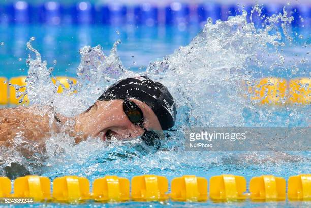American swimmer Katie Ledecky competing in the women's 800 metre freestyle event at the FINA World Championships 2017 in Budapest Hungary 29 July...