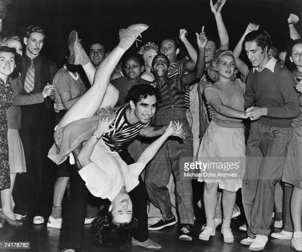 American swing dancers Hal and Betty Takier dancing to the music of Artie Shaw at the Palomar Ballroom Los Angeles California 1939